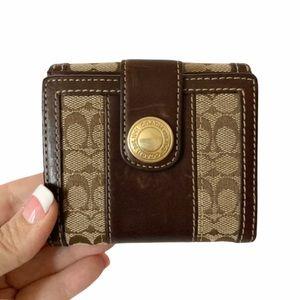 EUC COACH Vintage Brown Leather Khaki Signature Tattersall Interior Wallet